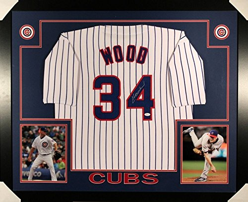 (Kerry Wood Autographed Signed Cubs 35x43 Deluxe Framed Jersey - JSA Certified)
