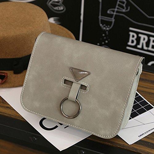KOROWA Sacchetto di spalla del cuoio dell'unità di elaborazione dell'anello quadrato dell'unità di elaborazione Sacchetto del messaggero del crossbody della nappa di colore solido