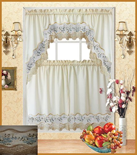 Fancy Collection 3pc Beige with Embroidery Floral Kitchen/cafe Curtain Tier and Valance Set 001092 (Blue/Beige)