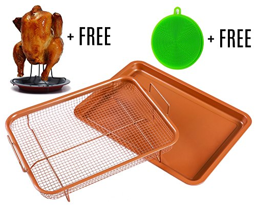 Copper Crisping Tray / Air Fryer Basket by BASICNDAILY - Chef 360° Cooking and Baking Sheet, Non-Stick Mesh Grill, Oven-Safe Square Pan + Free Chicken Roaster Rack and Silicone Dish Sponge Scrubber