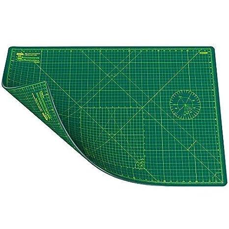 ANSIO A1 5 Strati di Tappetino da Taglio a Doppia Faccia Imperiale/metrico Auto-guarigione 34 x 22, 5 Pollici / 89 cm x 59 cm - Verde/Verde 4336849923