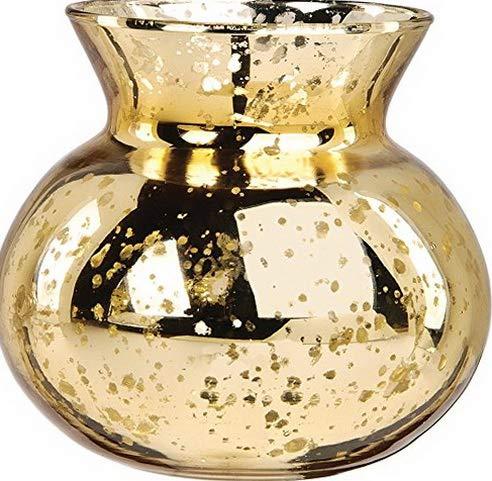 Clara Vase - Gatton Vintage Mercury Glass Vase (4-Inch, Clara Pot Belly Design, Gold) - Decorative Flower Vase - for Home Decor, Party Decorations, and ding Centerpieces   Model WDDNG - 2402  