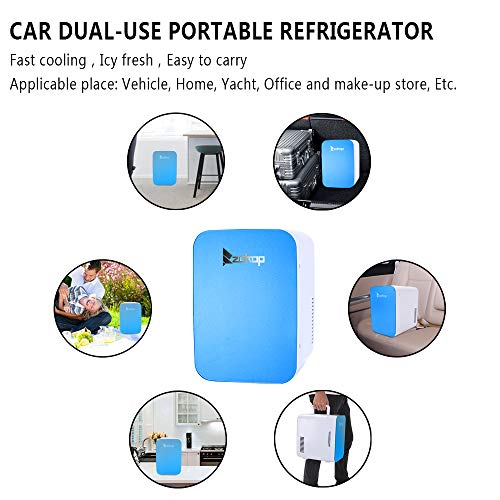 ZOKOP Electric Mini Portable Fridge, Cooler & Warmer Refrigerator (6L/ 8Can) AC 120V/DC 12V Thermoelectric System, for Home, Office, Car, Picnic, Camping, Outdoor (Blue) by OLYM STORE (Image #6)