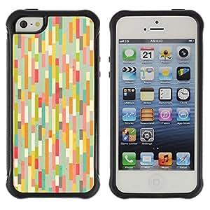 LASTONE PHONE CASE / Suave Silicona Caso Carcasa de Caucho Funda para Apple Iphone 5 / 5S / Teal Pink Pastel Warm Colors Stripes