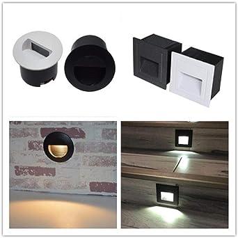 Luz De Escalera Led Luz De Paso Integrada 3W Luz De Esquina De Moda Impermeable Interior Y Exterior Cuadrada Y Redonda Gris_3W Cuadrado 86X86Mm: Amazon.es: Iluminación
