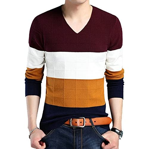 Cheap Ffox Men's Casual Knitted Crewneck Hedging Slim Fit Pullover Thermal Sweaters
