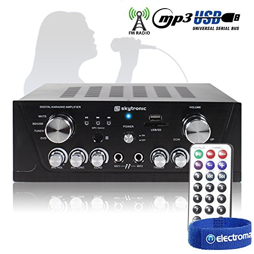 Skytronic Black Home Cinema Hifi Karaoke Amplifier FM/USB/SD/MP3 Remote...