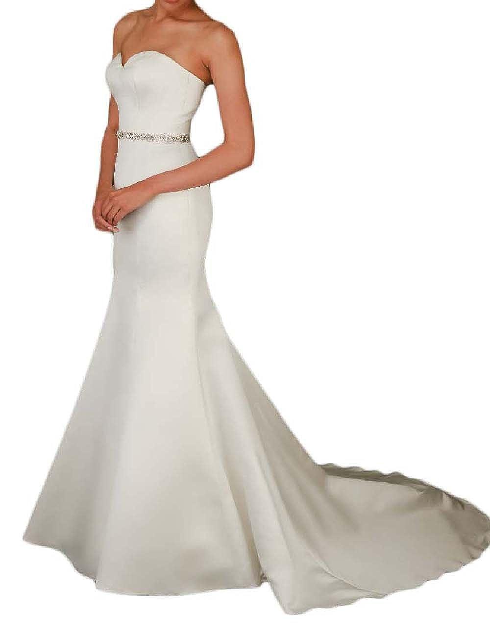 OYISHA Womens Satin Mermaid Wedding Bridal Dress with Sweep Train Beaded WD024
