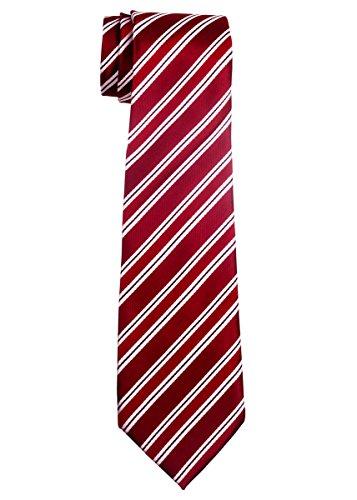 Preppy Stripe Pattern Woven Boy's Tie (8-10 years) - Red