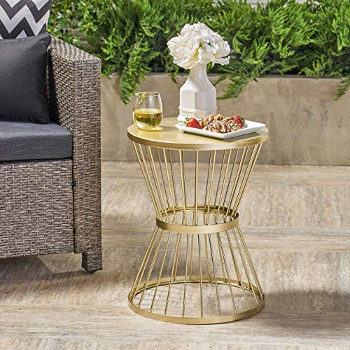 Great Deal Furniture Fern Outdoor 16 Inch Matte Gold Iron Si