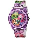 Shopkins Girls Quartz Watch with Plastic Strap, Purple, 17 (Model: KIN4116)