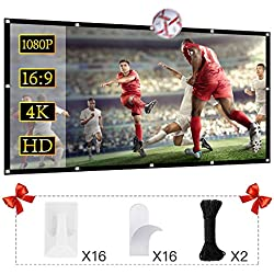 120 inch Projection Screen 16:9 HD Foldable Anti-Crease Portable Projector Movies Screen for Home Theater Outdoor Indoor Support Double Sided Projection