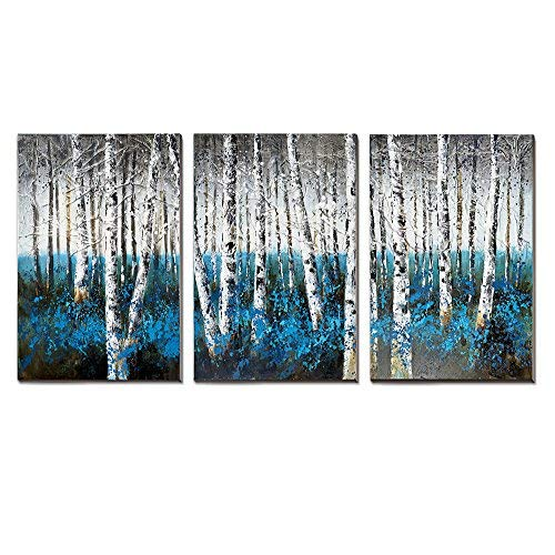 - 3Hdeko - Blue Birch Tree Canvas Wall Art Teal Gray Forest Landscape Oil Painting Extra Large Turquoise Aspen Decorative Picture for Living Room Bedroom Office, Ready to Hang (20x30inch x3pcs)