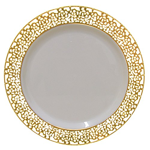 Get Info u0026 Reviews · 10 Inch Plastic Plates Trimmed With Gold Lace. Pack Of 40 Elegant Disposable China Like  sc 1 st  Finderists & Heavy Duty Elegant Plastic Plates - Best Brands [2018]