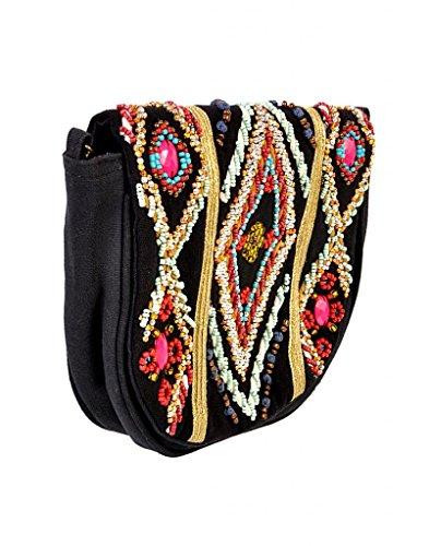 Zip Black Mulicolored Sling Handmade Bag Evergreen amp; Diwaah Top Clutch Multi Bag Embroidered Cross Body Purse wBtqnSpg