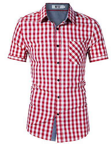 MrWonder Men's Casual Fit Button Down Short Sleeve Plaid Dress Shirts Red ()