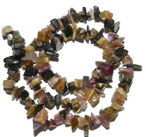 NG1959 Pink & Black Medium 5mm - 12mm Tourmaline Gemstone Chip Beads 15'' Crafting Key Chain Bracelet Necklace Jewelry Accessories Pendants