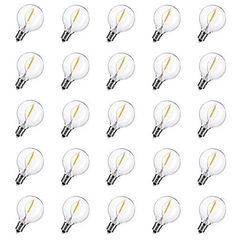(25-Pack Shatterproof LED G40 Replacement Bulbs, E12 Screw Base LED Globe Light Bulbs for Outdoor Patio String Lights, Equivalent to 5-Watt Clear Light Bulbs)