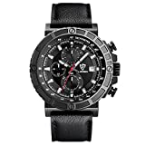 LIEBIG Men's Analog Quartz Watches Chronograph 50M Water Resistant with Black Leather Military Style Wrist Watch