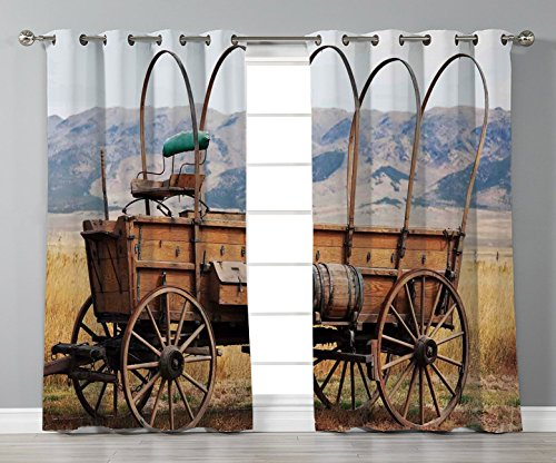 Satin Grommet Window Curtains,Western,Photo of Old Nostalgic Aged Wild West American Cart Carriage in the Farm Texas Style Decorative,Brown Yellow,2 Panel Set Window Drapes,for Living Room Bedroom Kit ()