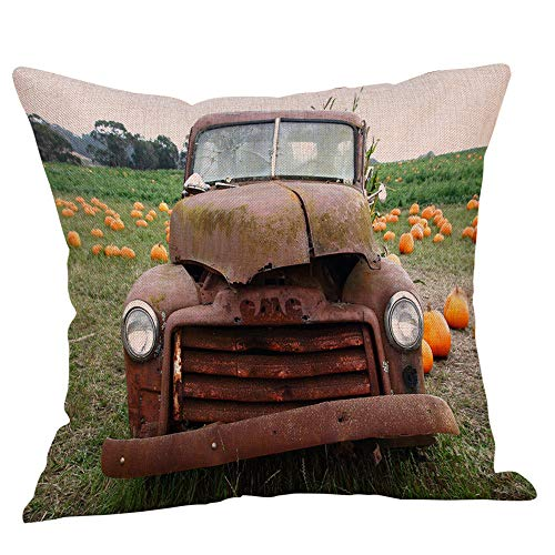 Halloween Pillowcases Sale KIKOY Retro Pumpkin Cars Printing Sofa Cushion Cover Home Decor