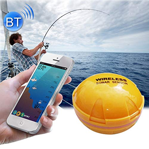 (Fishing Bluetooth Fish Detector 125KHz Sonar Sensor 0.6-36m Depth Locator Fishes Finder Alarm for iOS & Android Nomadic Phones Fishing)