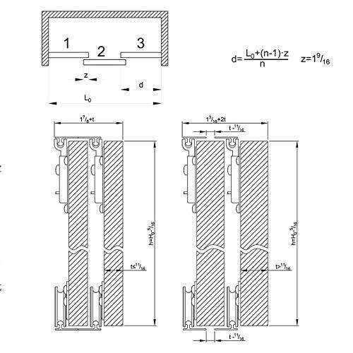 SLIDUP 130 Erg/änzungsset 70 kg Schiebet/ürbeschlag 1 T/ür