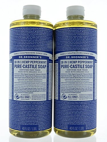 Dr Bronners Organic Hemp - Pack 2 Dr. Bronner's Organic Soaps Pure-Castile Soap, 18-in-1 Hemp Peppermint, 1.18L Each Bottle