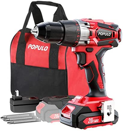 20volt Max Lithium-Ion 1 2 Inch Power Drill Driver Kit. Max Torque 450 in-Ibs, 2 – Speed, LED Work Light.Cordless Drill, 20V Max Battery, Accessories and Carrying Bag Included