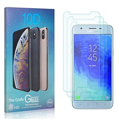 The Grafu Displayschutzfolie für Galaxy J3 2018, 3D Touch, Blasenfrei, 9H Ultra klar Schutzfolie aus Gehärtetem Glas Kompatibel mit Samsung Galaxy J3 2018, 3 Stück