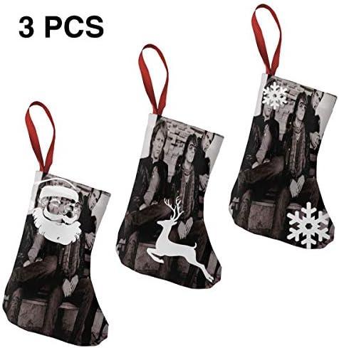 クリスマスの日の靴下 (ソックス3個)クリスマスデコレーションソックス 音楽Bon Jovi クリスマス、ハロウィン 家庭用、ショッピングモール用、お祝いの雰囲気を加える 人気を高める、販売、プロモーション、年次式
