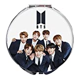 NUOFENG KPOP BTS Bangtan Boys Photo Portable Stainless Steel Shell Mirror Makeup Cosmetic Mirror (H01)