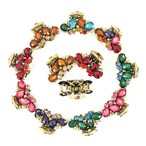 Yeshan Pack of 12pcs Vintage Metal Hair Claw Clip ,Crystal and Rhinestones Small Jaw Hair Clip