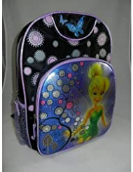 Tinker Bell Dual Compartment Backpack--Black and Purple with Flowers and Butterflies