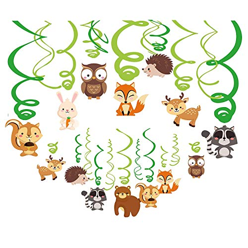 Kristin Paradise 30Ct Woodland Animals Hanging Swirl Decorations, Forest Friends Birthday Party Supplies for Boy/Girl/Kids, Baby Shower Woodland Creatures Theme Decor, 1st First Bday Favors -