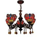 Tiffany Style Chandelier - Red Bottom Dragonfly Glass Pendant Lamp - Living Room Diningroom Bar Crystal 5 Heads Pendant Lights