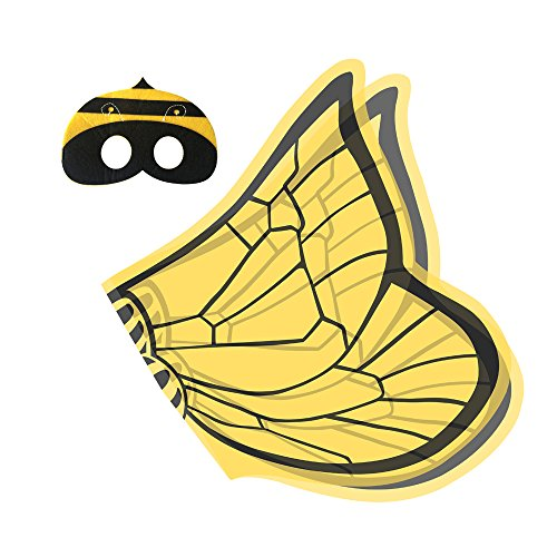 [Magiczone Kids Costume Honeybee Wings with Mask (Set of 2 Pieces)] (Little Honey Bee Girls Costumes)