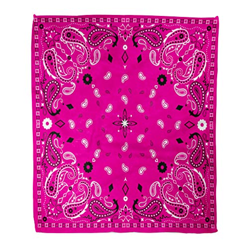 (Emvency Throw Blanket Warm Cozy Print Flannel Colorful Bandanna Pink Paisley Bandana Pattern Scarf Abstract Artistic Black Comfortable Soft for Bed Sofa and Couch 50x60 Inches)
