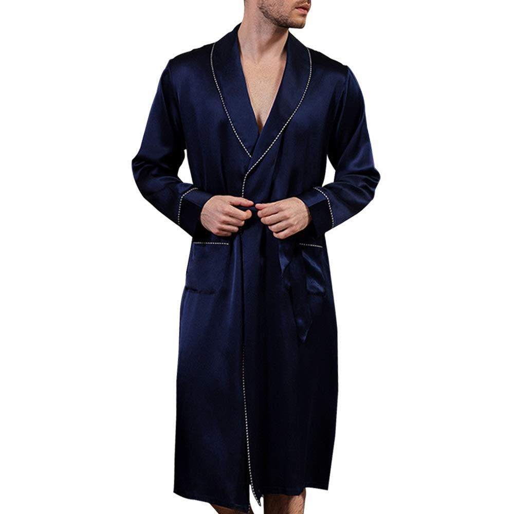 YUNHAO Mens Nightgown Dark Blue Cardigan Long-Sleeved Simple Pajamas 100/% Silk Fabric Pajamas Casual Home Service Bathrobes Soft and Close Color : Dark Blue, Size : XL