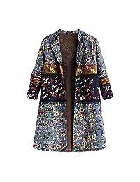 JMETRIE Women's Casual Warm Winter Outwear Button Floral Print Vintage Oversize with Pocket Coat