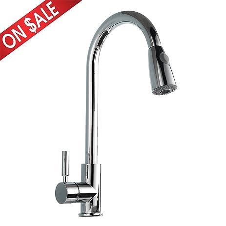 Comllen Best Modern Single Handle Pull Down Sprayer Kitchen Sink ...
