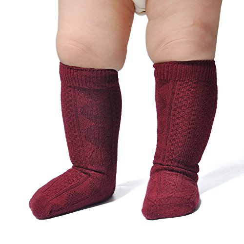 Epeius Unisex-Baby 3 Pair Pack Seamless Cable Knit Knee High Socks Toddler Boys/Girls Uniform Stockings for 12-24 Months,Granate Red from EPEIUS