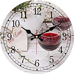 Eeroclock Vintage Round Wall Clocks Dining Hall Design Silent Office Cafe Wall Art Kitchen Clocks Home Decor Large Wall Clocks Red Wine 40cm(16inch)