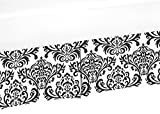 Sweet Jojo Designs Black and White Damask Crib Bed Skirt Dust Ruffle for Girls Isabella Collection Baby Bedding Sets