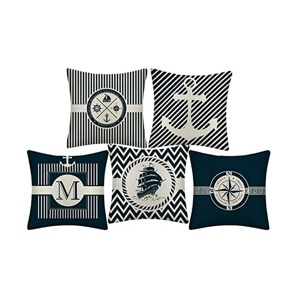 51IVYaKhsuL WMWZ Bunt Ozean-Serie Segelboot Anchor Design Kissen Leinen Baumwolle Überwurf Case Soft Bettwäsche Kissenbezug Für Sofa…