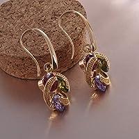 phitak shop Womens Ruby/Peridot/Amethyst Drop/Dangle Hook Earrings 10KT Yellow Gold Filled
