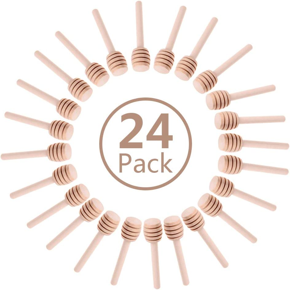 24 Pack Mini Wooden Honey Dipper Sticks, Honey Dippers 3 inch with Individually Wrapped Server for Honey Jar Dispense Drizzle Honey and Wedding Party Favors