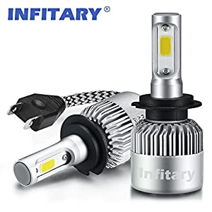 H7 LED Headlight Bulbs Infitary Hi/Lo Beam Auto LED Headlight Headlamp Dual Beam Car Headlights 72W 6500K 8000LM Extremely Super Bright COB Chips Conversion Kit for Car -1 Pair- 1 Year Warranty (H7)