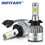 Infitary LED Headlight Bulbs H7 Conversion Kits Car LED Headlights 72W/Pair 6500K 8000LM Extremely Super Bright COB Chips - 1 Pair-3 Year Warrenty