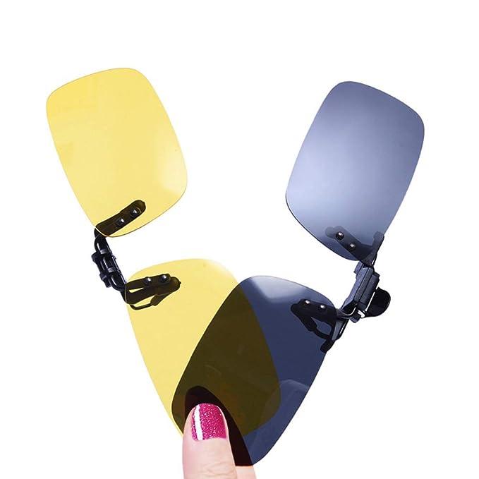 LUFF 2-Pack Clip en gafas de sol HD Day + Night Vision Gafas de sol polarizadas, visión nocturna Driving Glasses antideslumbrante para hombres/Wemen ...